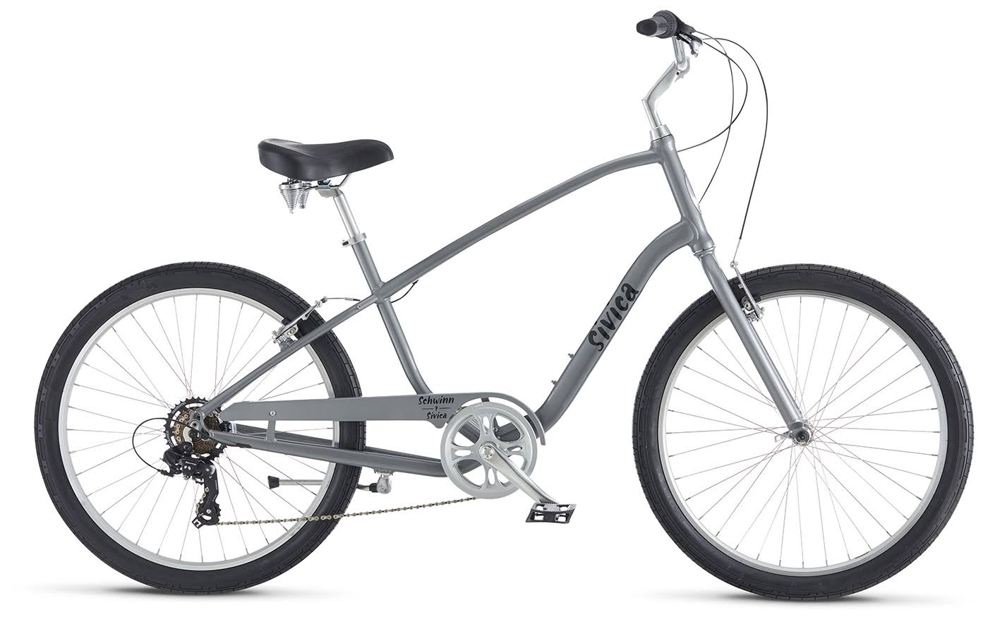 Schwinn S37257M60OS Signature Men's Sivica 7 Cruiser Bike - Grey, 26""