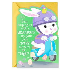 Bunny on Scooter Easter Card for Grandson