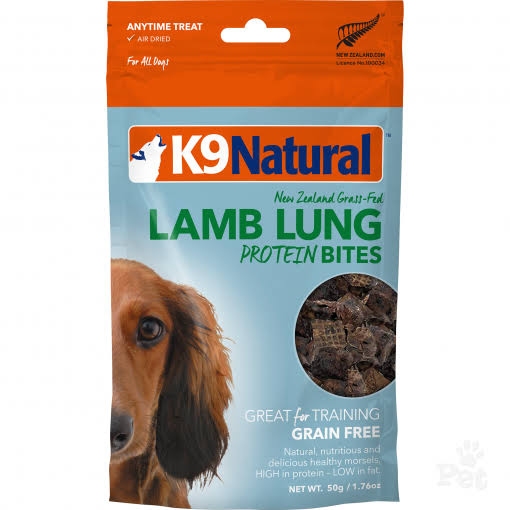 K9 Natural Protein Bites Dog Treats, Lamb Lung (1.76oz)