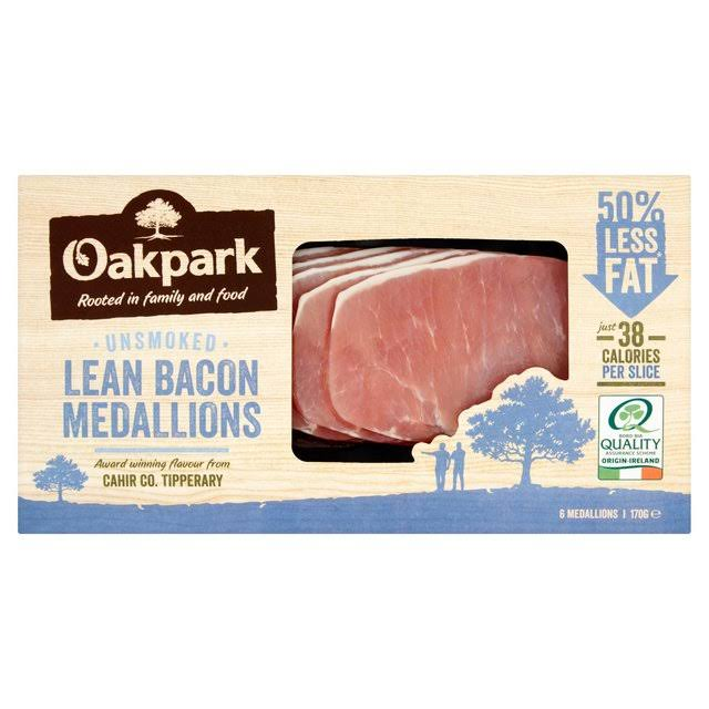 Oakpark Unsmoked Bacon Medallions - 6 Pack, 170g