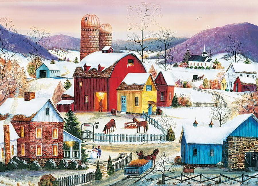 Cobble Hill Winter Neighbors Jigsaw Puzzle