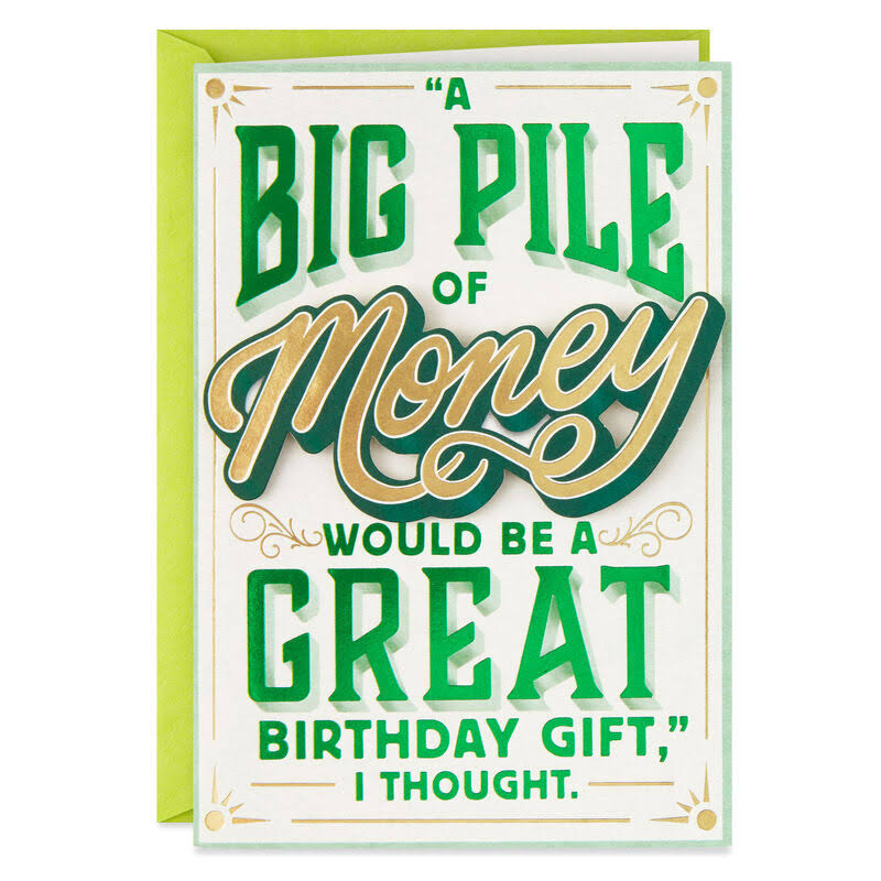 Big Pile of Money Funny Birthday Card