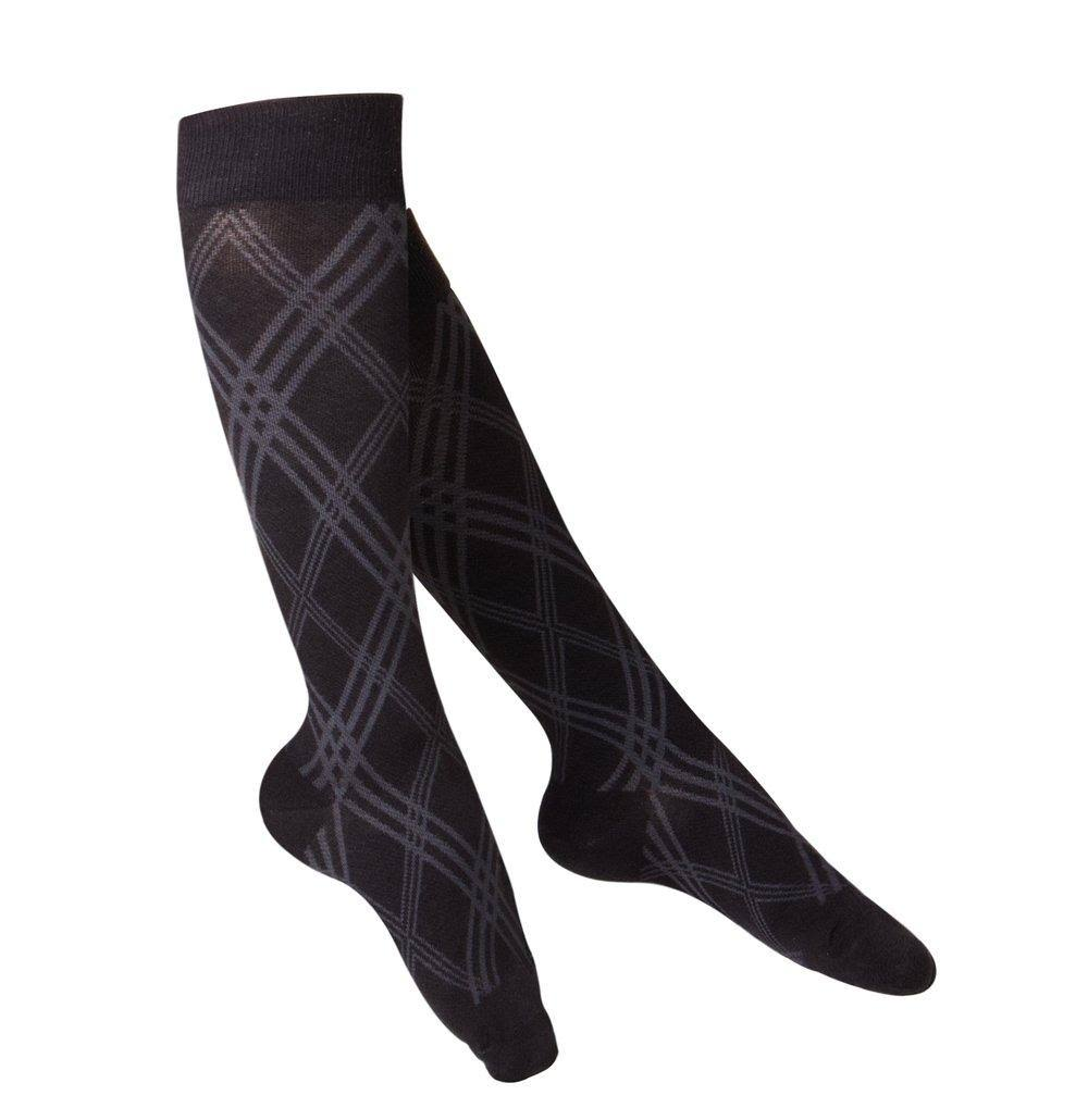 Touch Womens Compression Socks - Knee High, Pattern Knit, 15 to 20mmhg, Black, Large