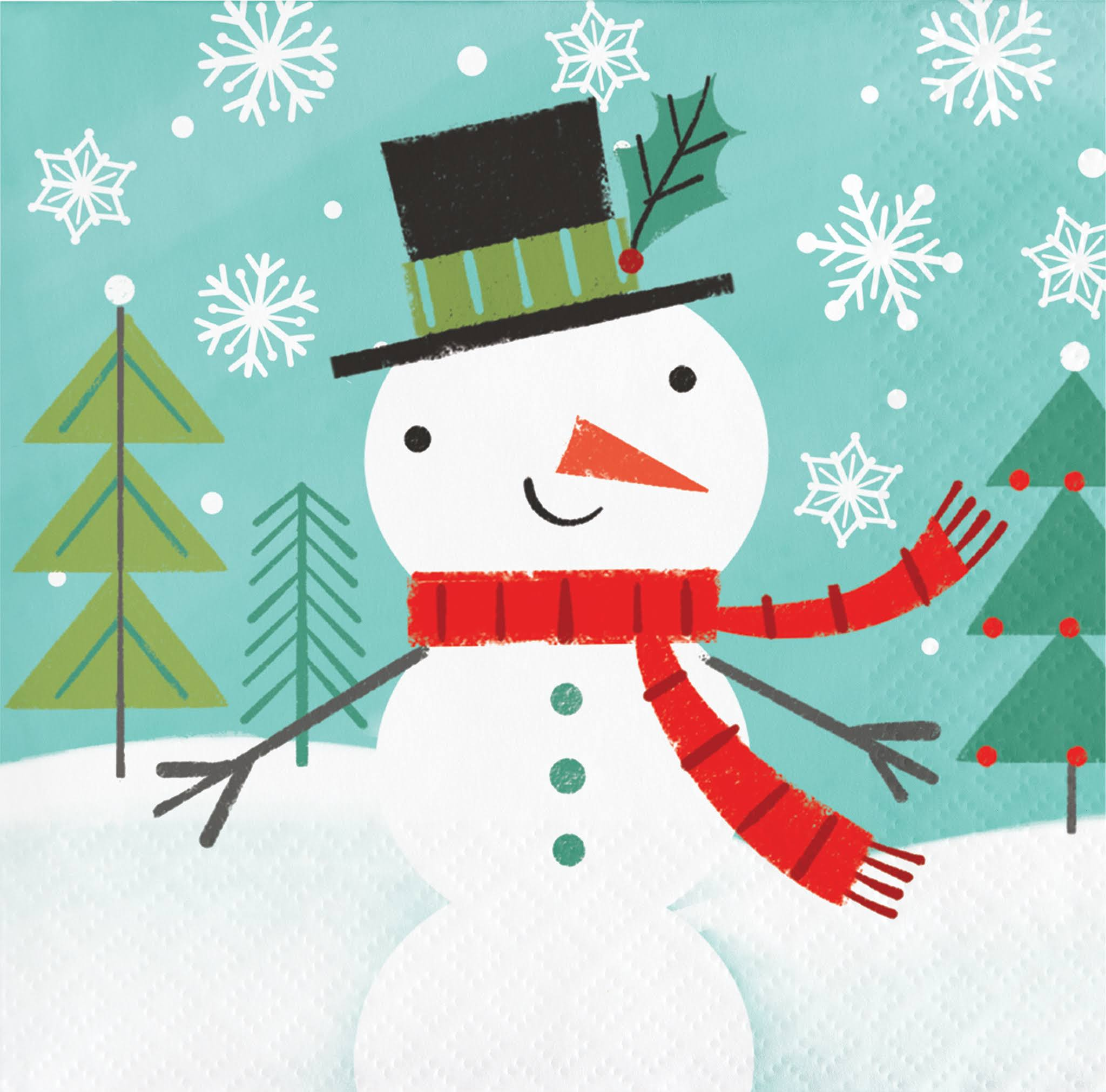 Winter Snowman Beverage Napkins