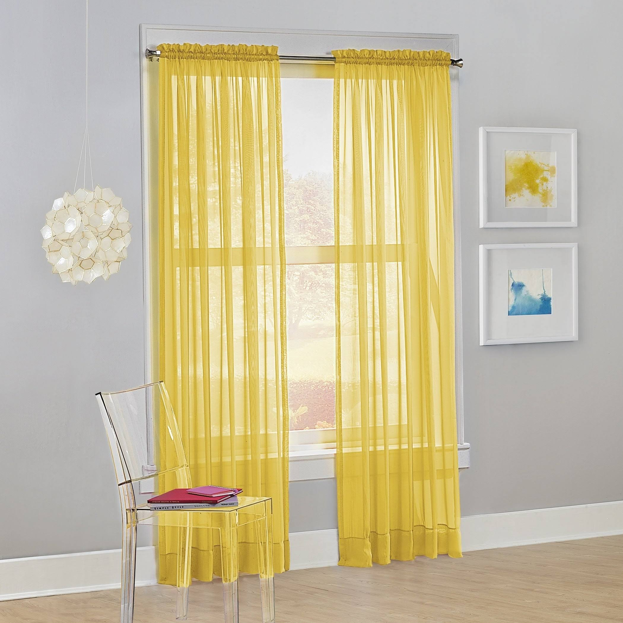 NO. 918 Calypso Sheer Voile Rod Pocket Curtain Panel, Lemon Yellow