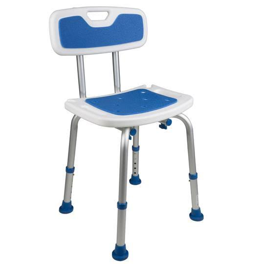 PCP Padded Bath Safety Seat - with Backrest, White and Blue