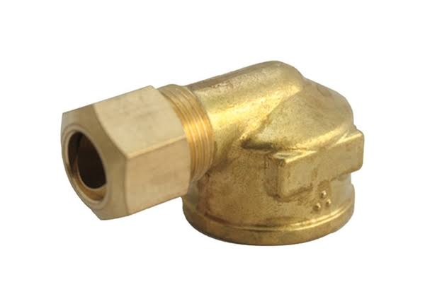 "JMF 4503785 Compression Elbow - Yellow Brass, 1/2""x1/2"""