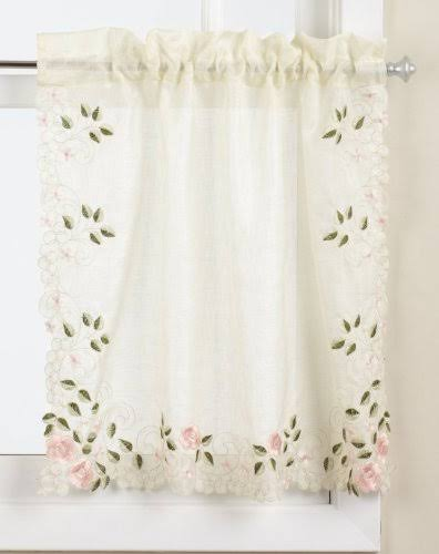 Lorraine Home Fashions Rosemary Tier Curtain Pair 58 by 36-Inch Rose