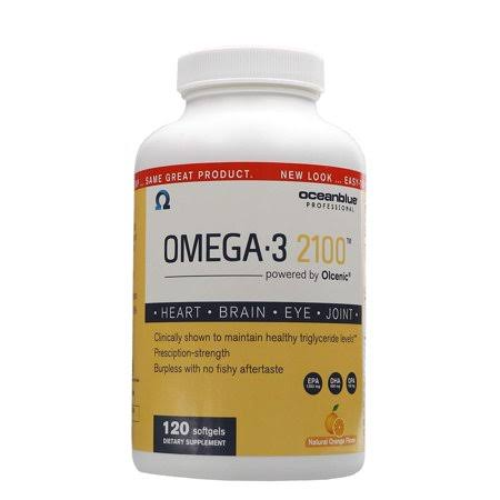 Oceanblue Professional 2100 Omega-3, Softgels, Natural Orange Flavor - 120 softgels