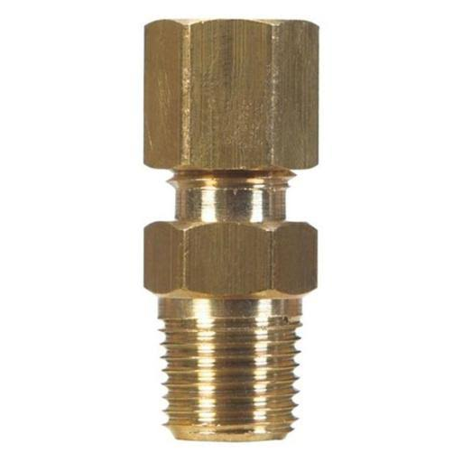 "JMF Compression Connector - 1/4"" x 1/4"", Yellow Brass"