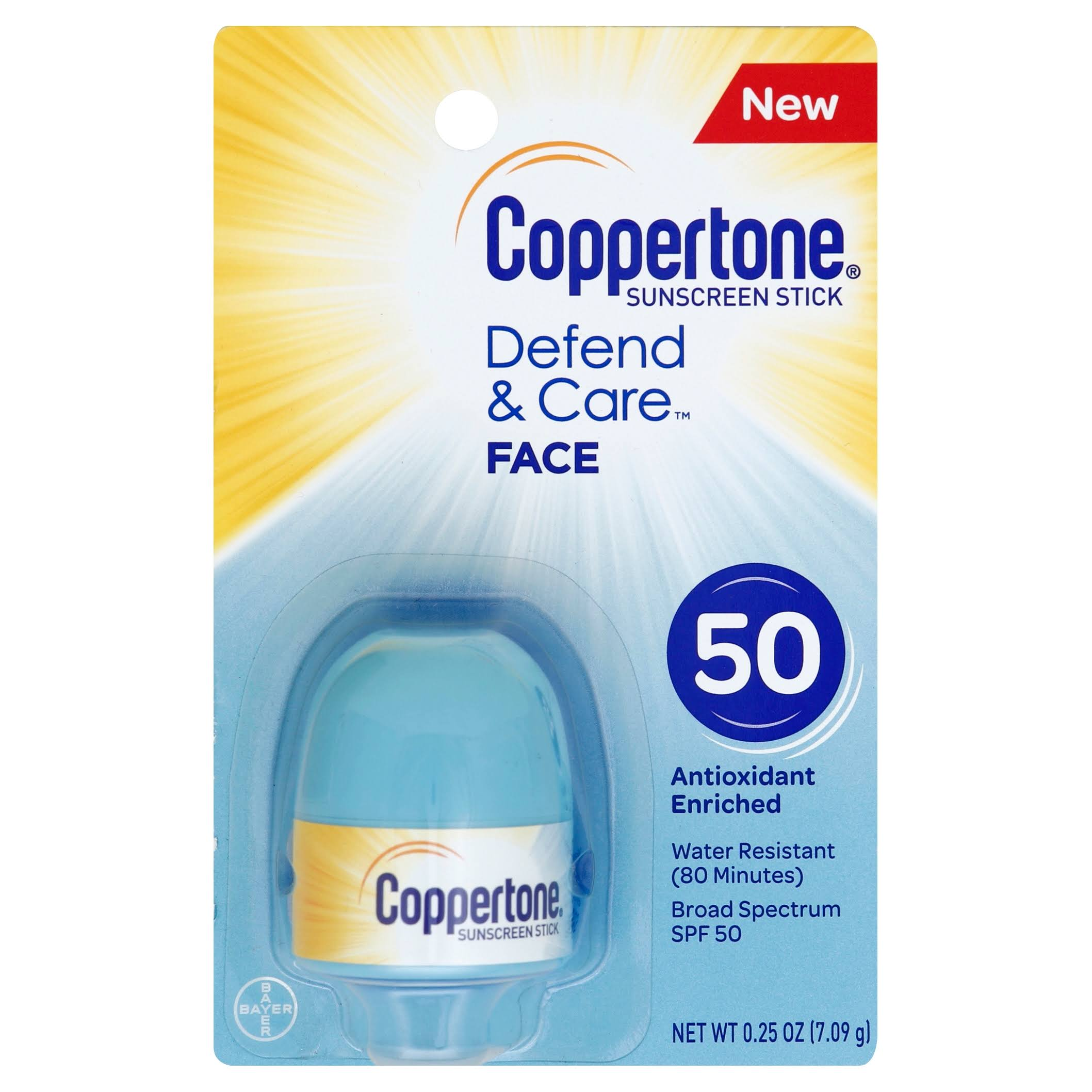 Coppertone Defend and Care Face Sunscreen Stick - SPF50, 0.25oz