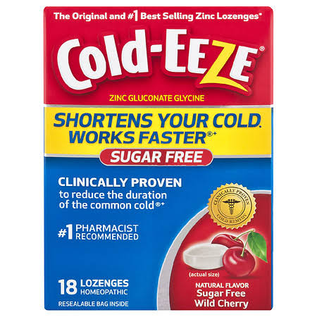 Cold-Eeze Zinc Gluconate Glycine Homeopathic Wild Cherry Lozenges - 18 Pack