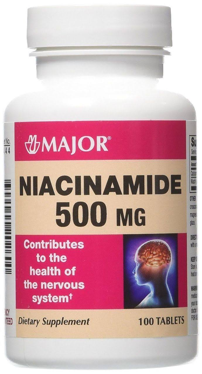 Major Niacinamide 500Mg Dietary Supplement - 100 Tablets