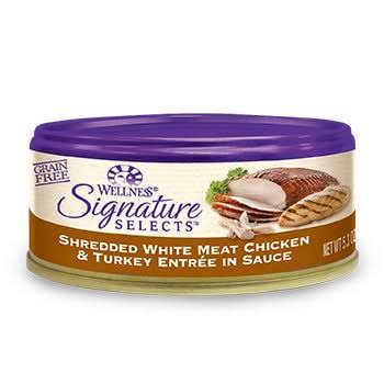 Wellness Signature Selects Grain Free Canned Cat Food - Shredded White Meat Chicken and Turkey Entree, 5.3oz