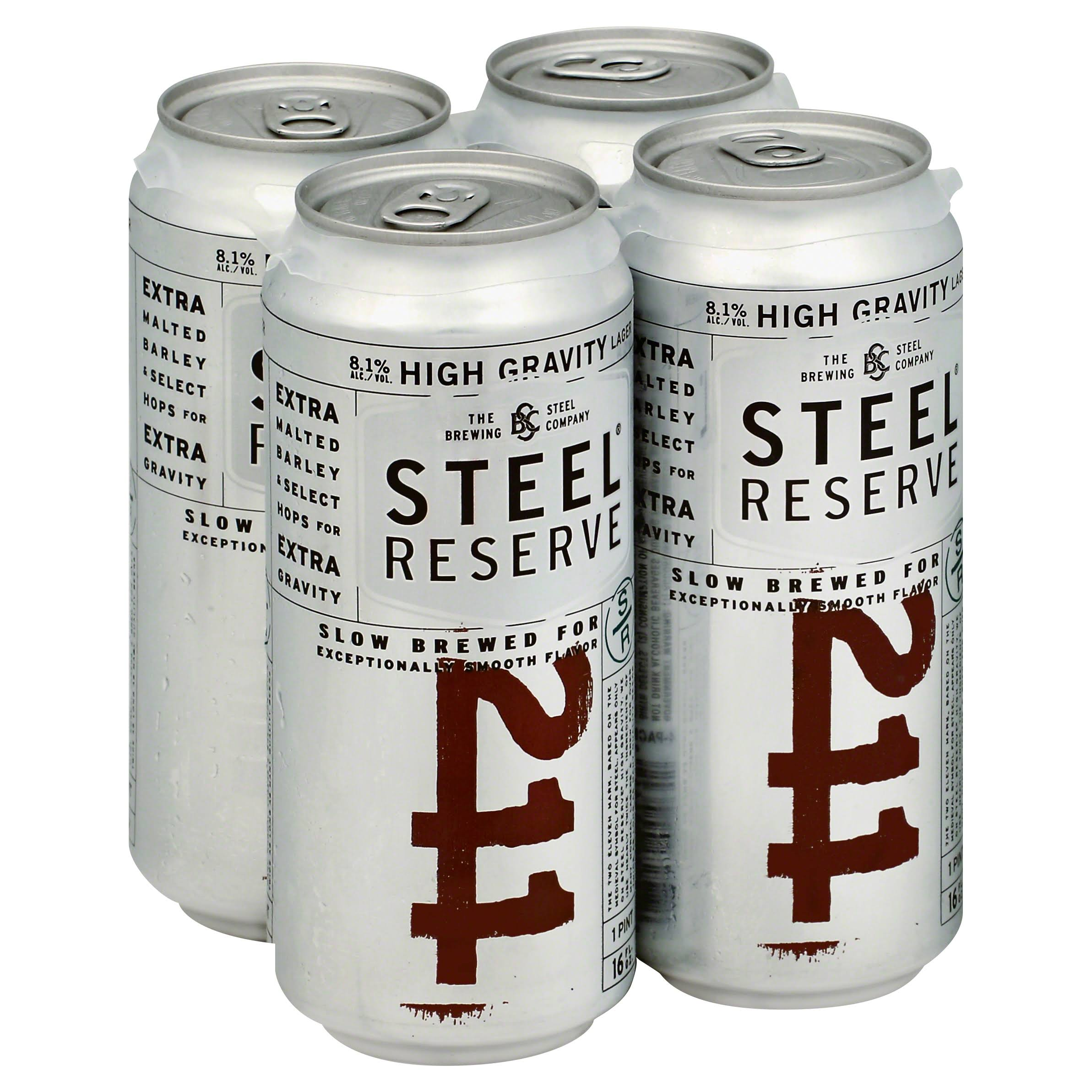 Steel Reserve 211 Beer, Lager, High Gravity - 4 pack, 16 fl oz cans