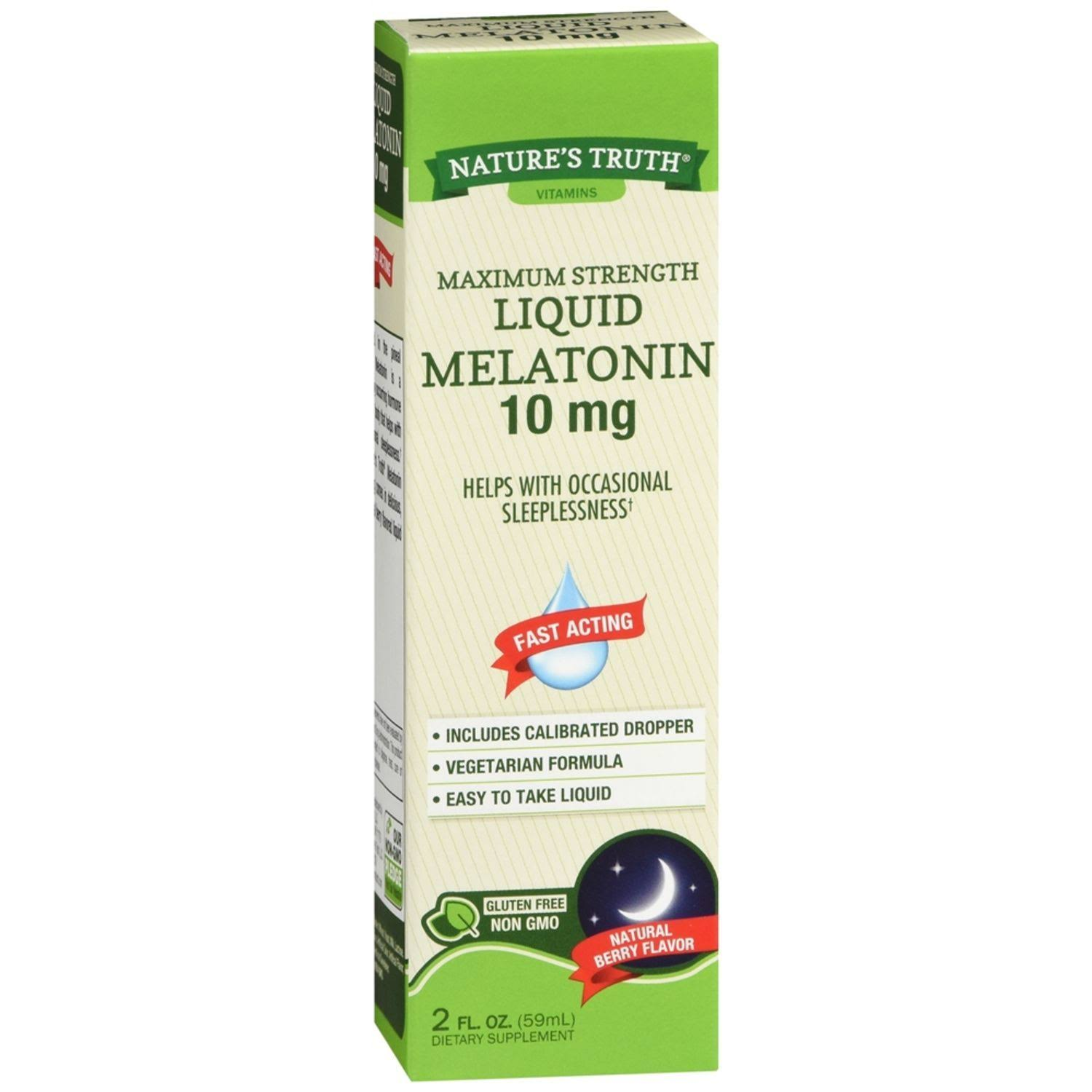Natures Truth Vitamins Melatonin, Maximum Strength, 10 mg, Liquid, Natural Berry Flavor - 2 fl oz