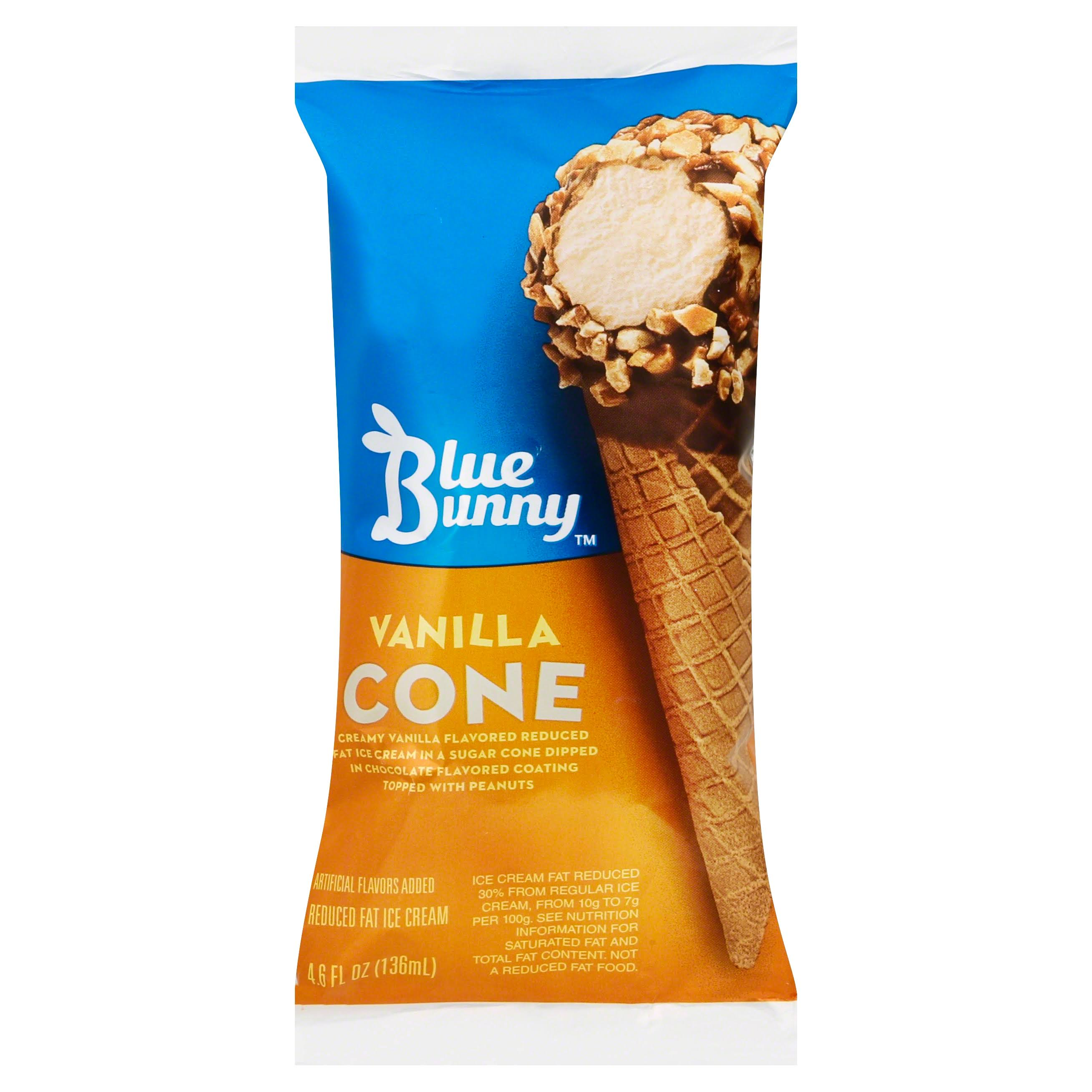 Blue Bunny Ice Cream Cone, Reduced Fat, Vanilla - 4.6 fl oz