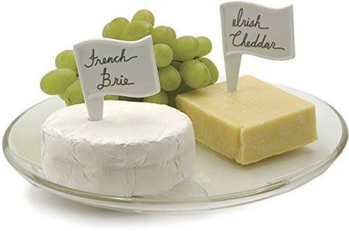 RSVP Porcelain Cheese Marker Cheese Flags / Labels with Erasable Pen - 6pcs