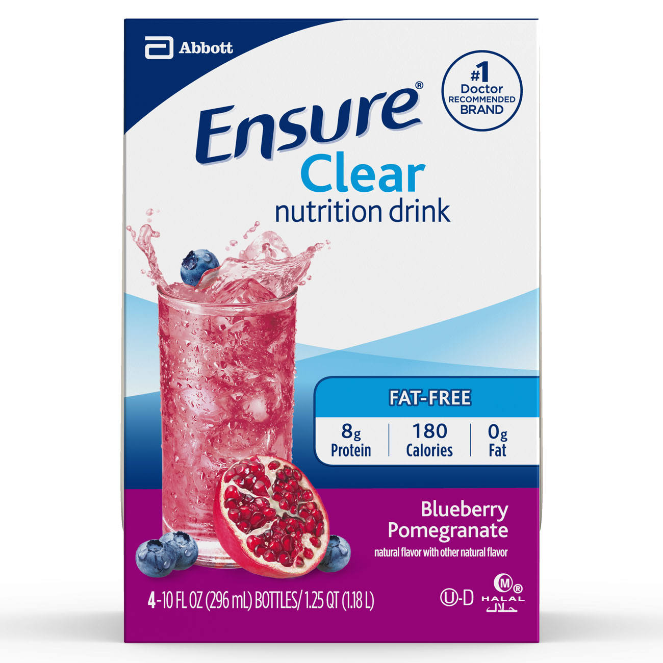 Abbott Ensure Clear Blueberry Pomegranate Nutrition Drink - 10oz, 4 Count