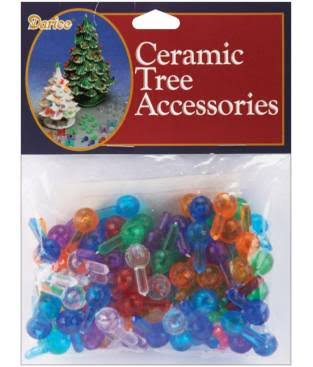 Darice Ceramic Christmas Tree Bulb - Medium, Multicolor, 100pk