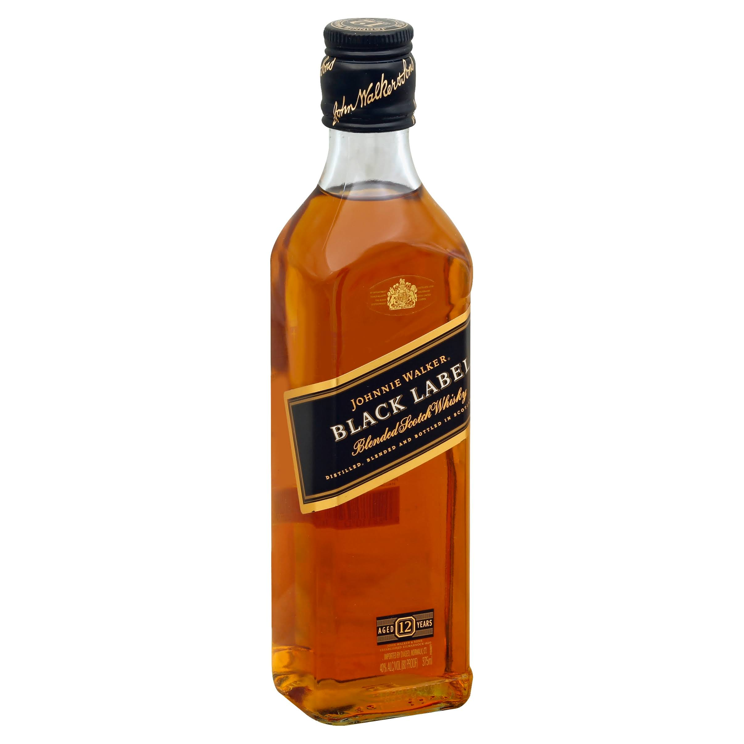 Johnnie Walker Black Label Scotch Whiskey - 12 Year, 375ml