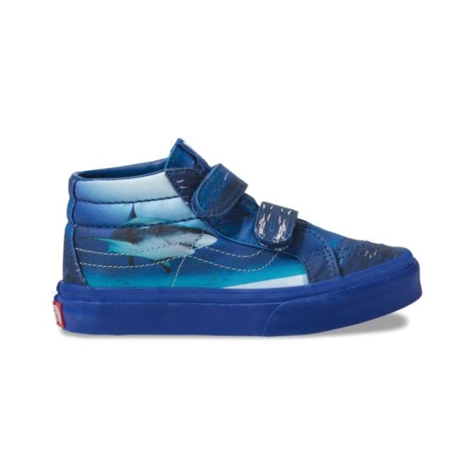 Vans Kids Vans x Shark Week Sk8-Mid Reissue V Shoes (5+ Years) ((shark Week) Underwater/true Blue) Kids Blue, Size 13.5