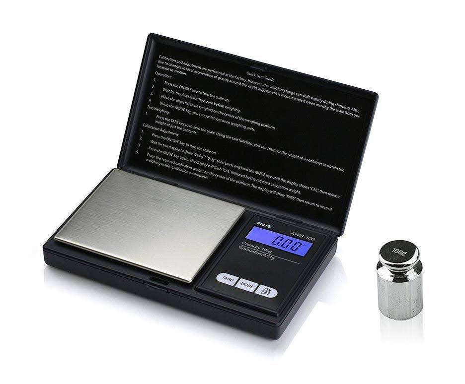 American Weigh Scales AWS-100-CAL Digital Kitchen Pocket Scale - Black, Small