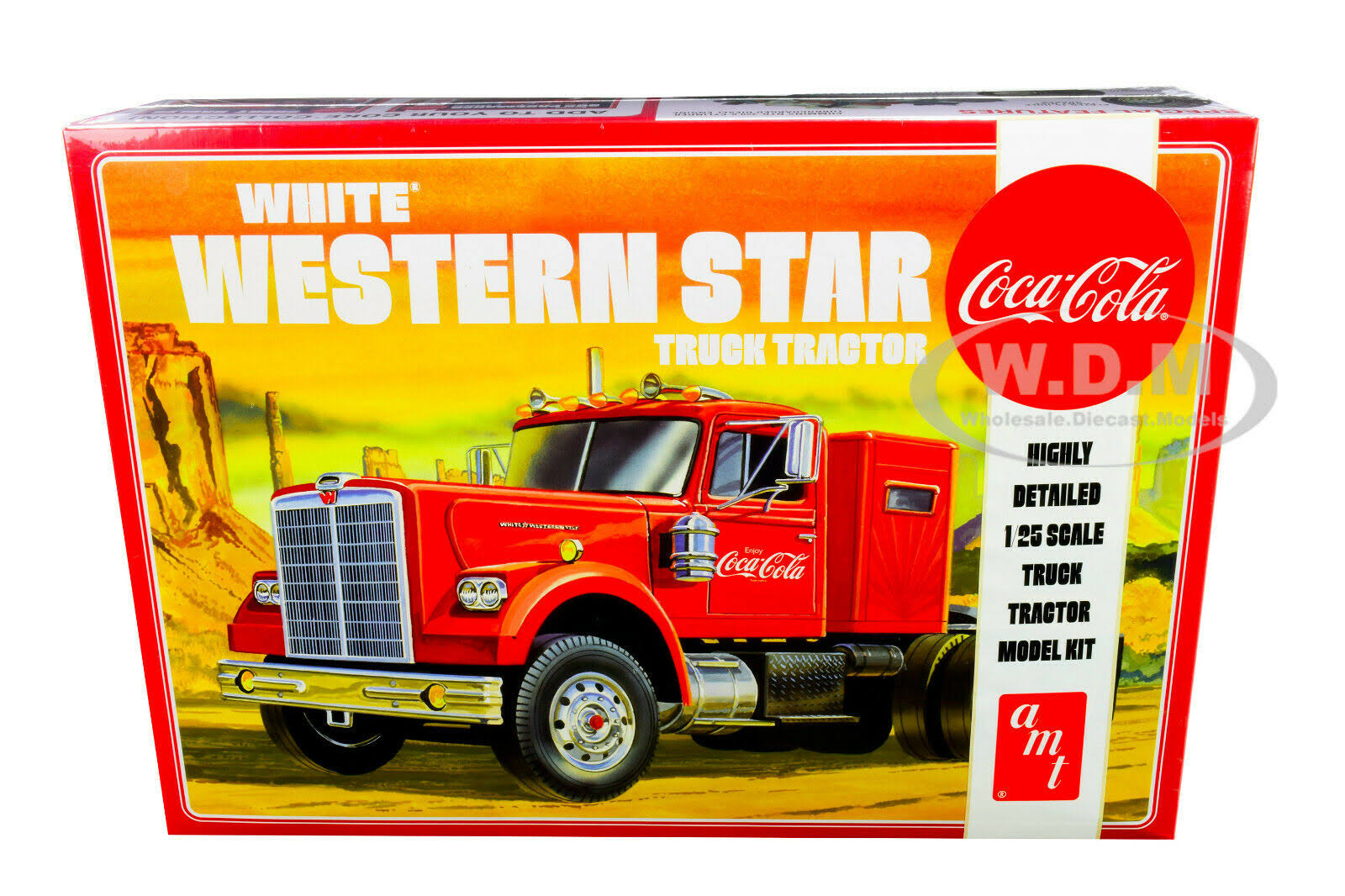 Amt Coca Cola White Western Star Truck Tractor Model Kit - 1/25 Scale