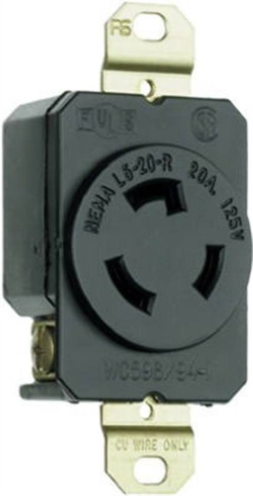 Pass & Seymour Legrand Locking Electrical Outlet - Black, 20 Amp, 3W