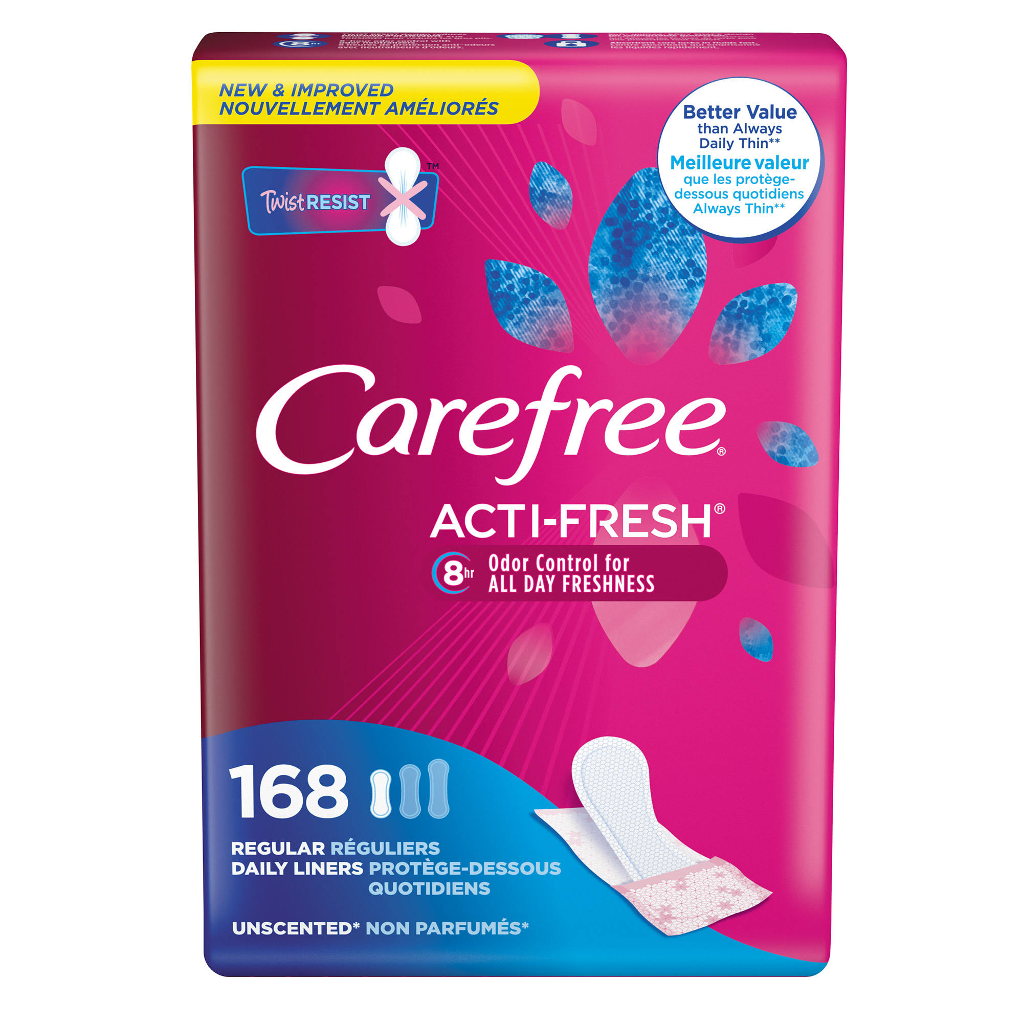 Carefree Acti-Fresh Liners, Daily, Regular, Unscented - 168 liners