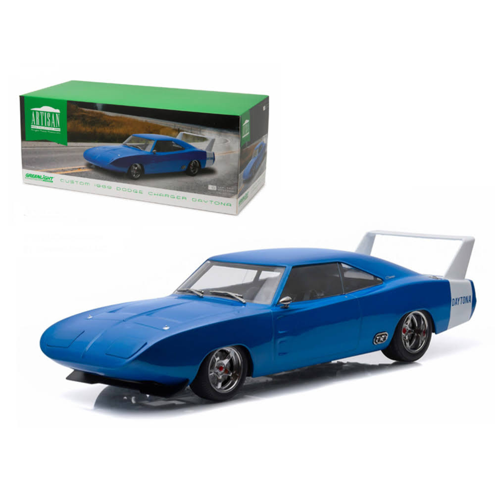 1969 Dodge Charger Daytona Custom Blue with White Rear Wing (1:18)