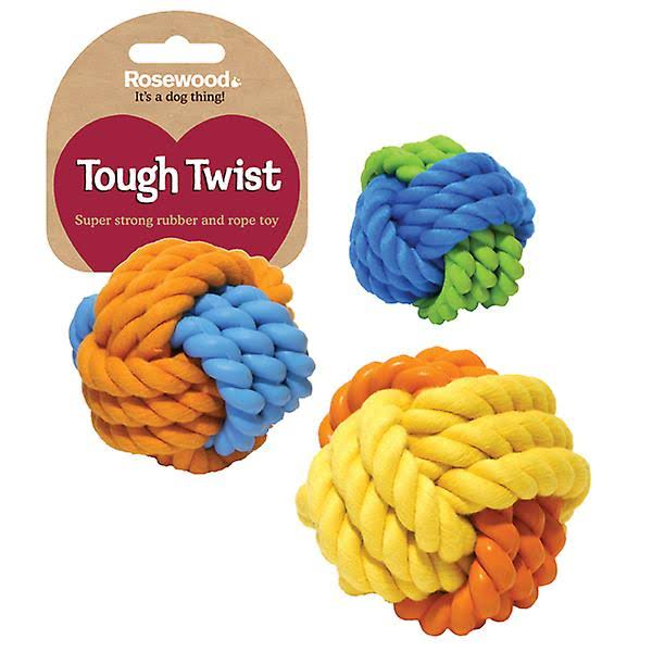 Tough Twist Rubber & Rope Ball 8cm