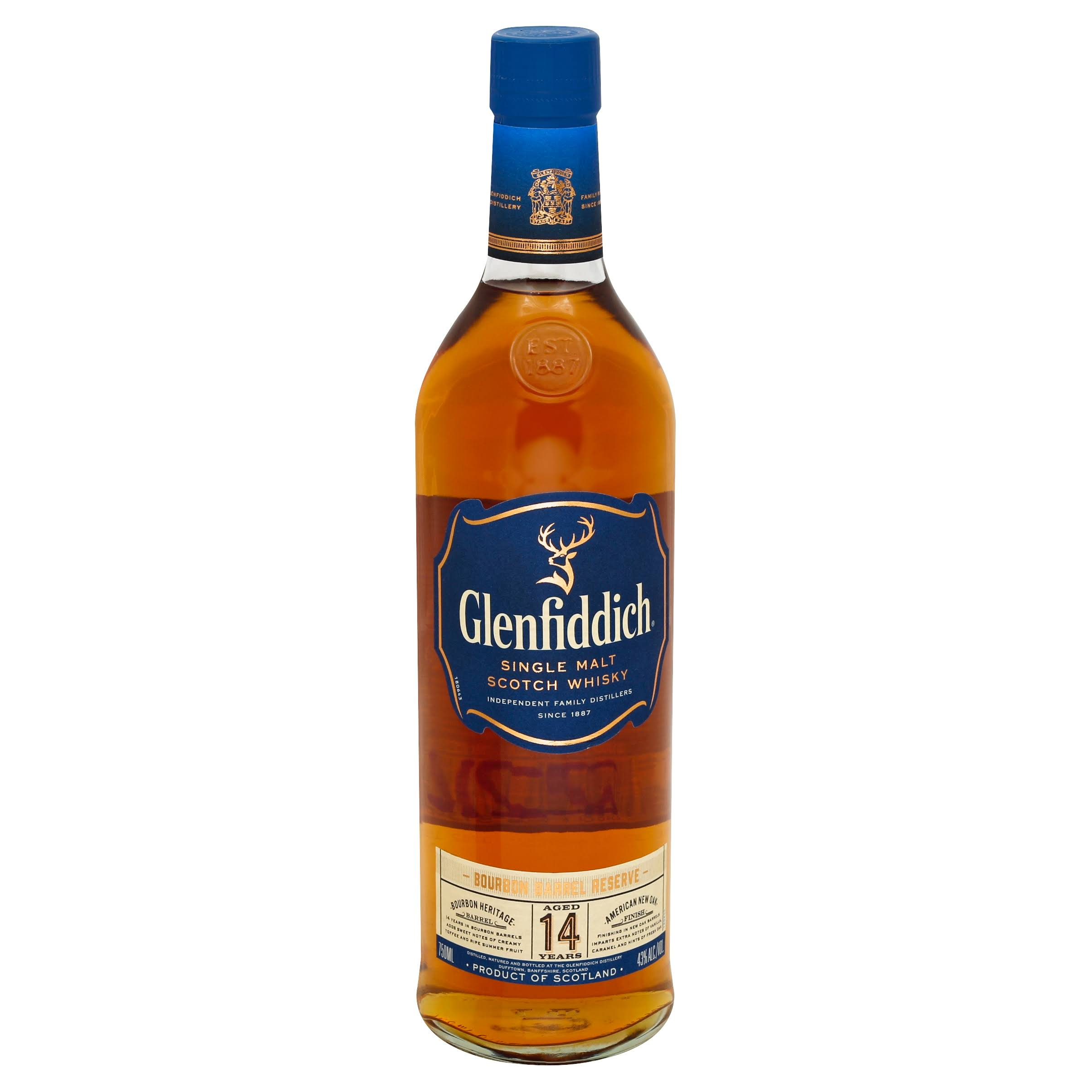 Glenfiddich 14 Year Old Bourbon Reserve Single Malt Scotch Whisky - 750 ml bottle