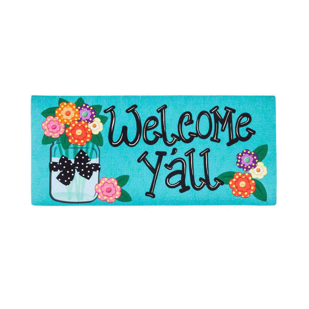 "Evergreen Decorative Mat Insert - 10"" x 22"", Welcome Y'all Floral Polka Dot"