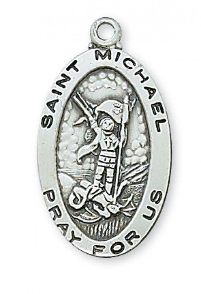 Sterling Silver Saint Michael Medal 18inch Chain & Box