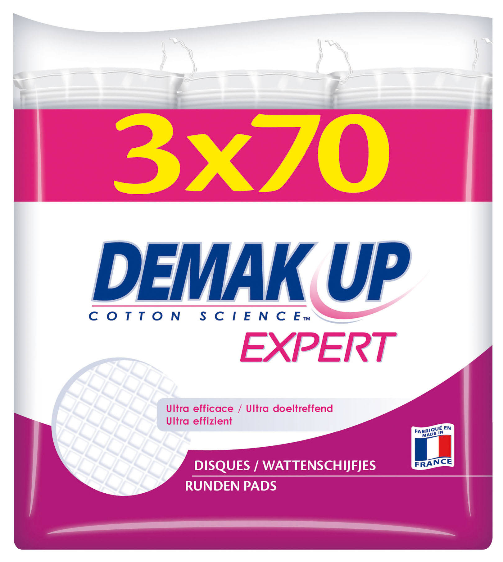 Demak Up Expert Cotton Pads - 3 x 70 Round Pads