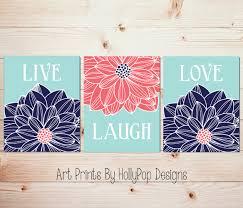 Coral Colored Decorative Items by Live Laugh Love Home Decor Prints Navy Aqua Coral Wall Art