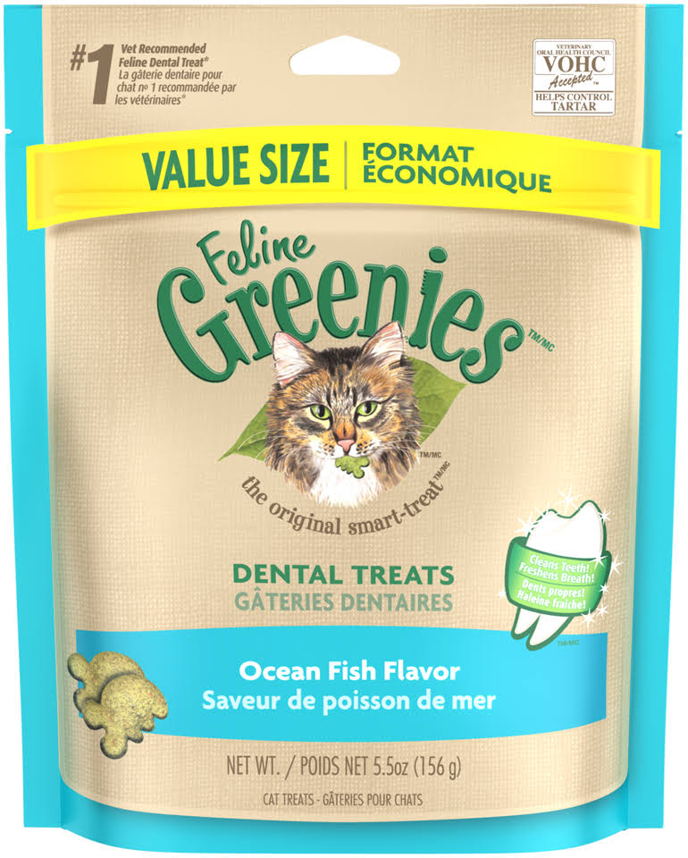Feline Greenies Dental Cat Treats - Ocean Fish, 5.5oz