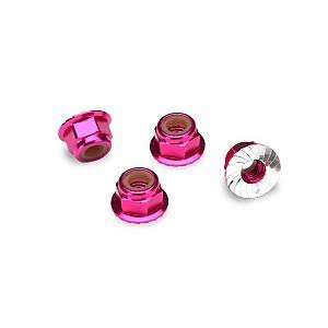 Traxxas Aluminum Flanged Nylon Locking Nuts - Pink, 4mm, 4pc
