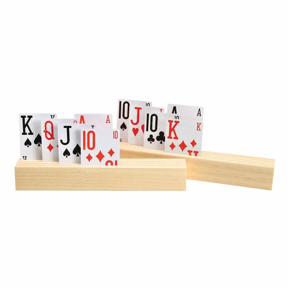 CHH 4 Slot Wooden Playing Card Holder - Set of 2