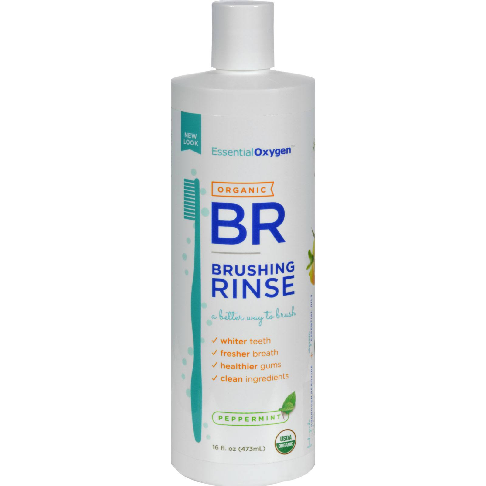 Essential Oxygen Organic Brushing Rinse - Peppermint, 16oz