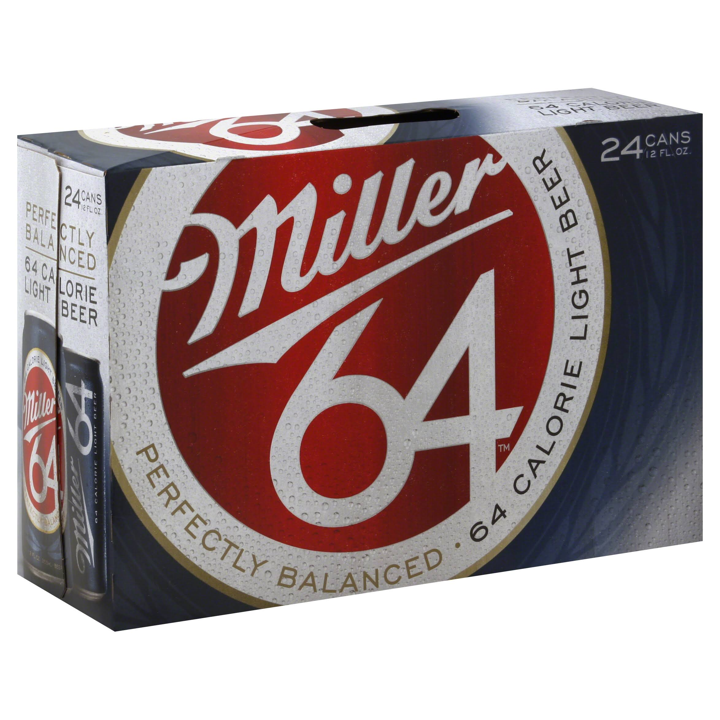 Miller64 Light Beer - 12oz, 24 Pack