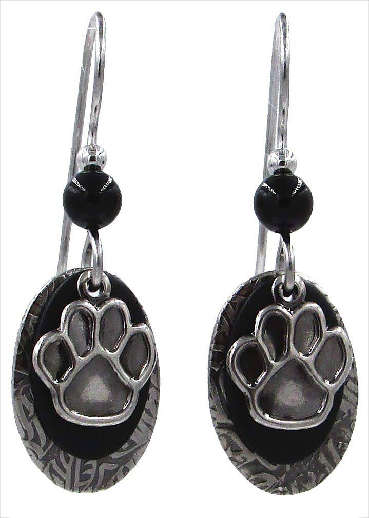 Silver Forest Black Bead Paw Print Dangle Earrings