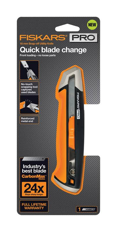 Fiskars Pro 6 in. Retractable Snap-Off Utility Knife Orange 1 Pk