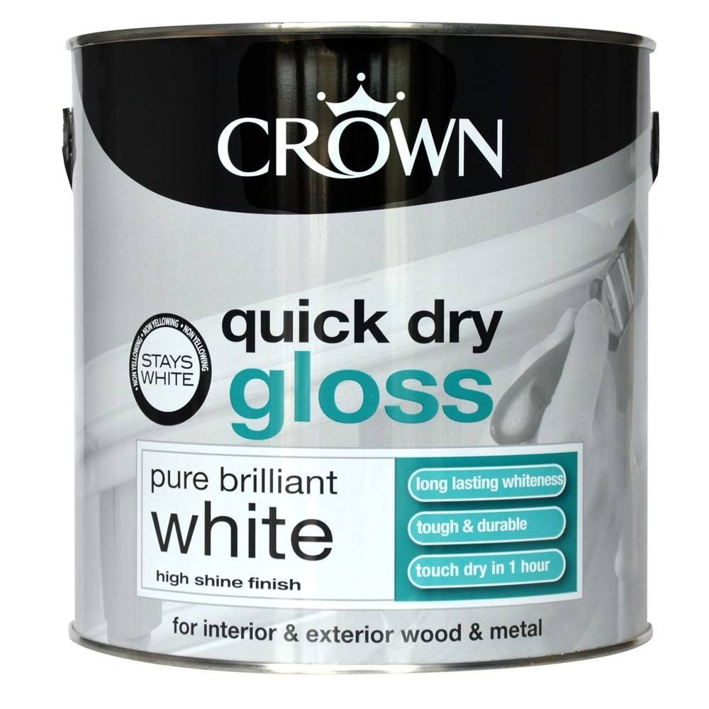 Crown Quick Dry Interior & Exterior Gloss Paint - Pure Brilliant White