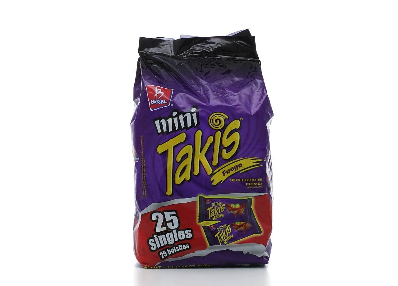 Mini Takis Corn Snacks - Hot Chili Pepper and Lime, 1.2oz, 25ct