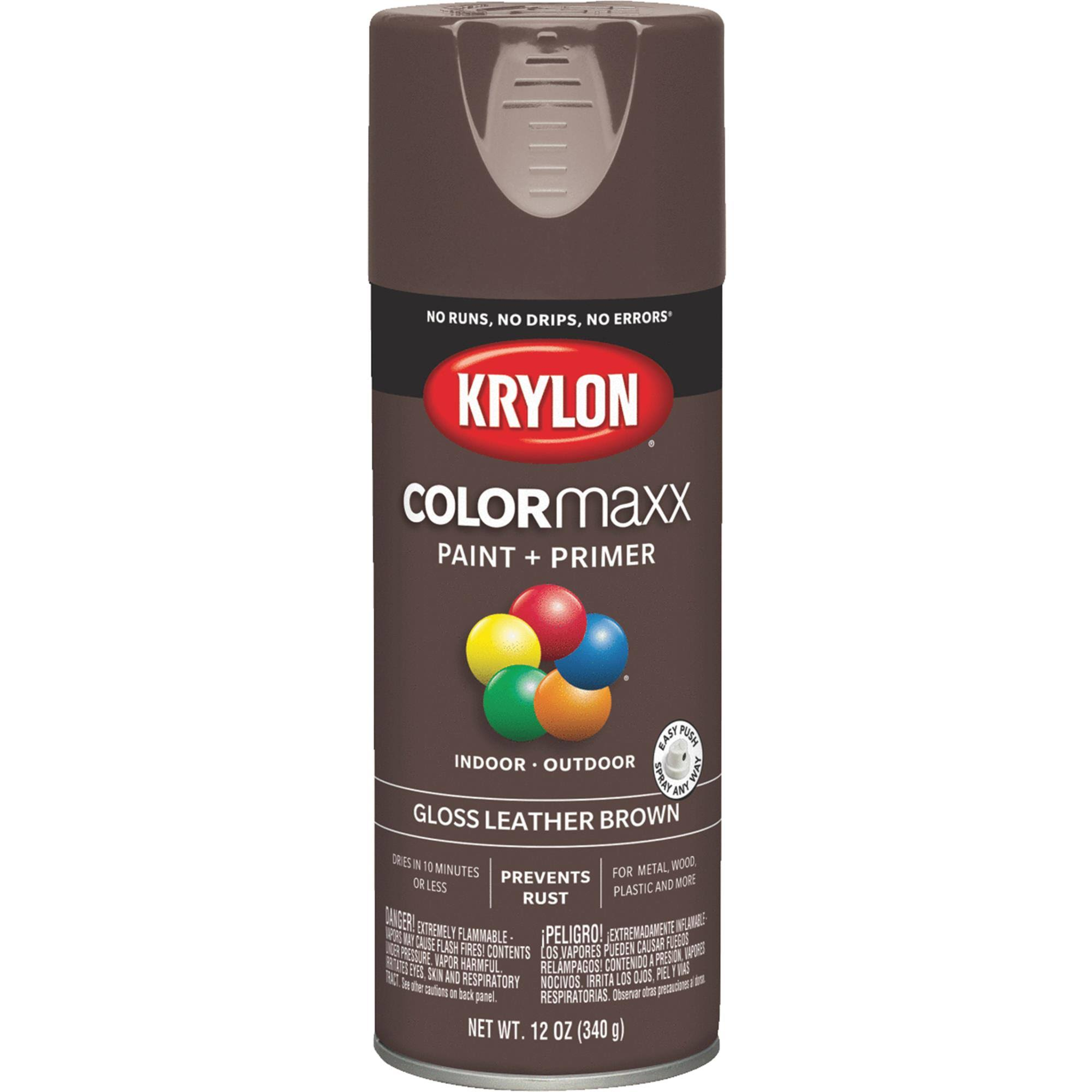 Krylon K05527007 COLORmaxx Spray Paint Gloss Leather Brown 12 Ounce