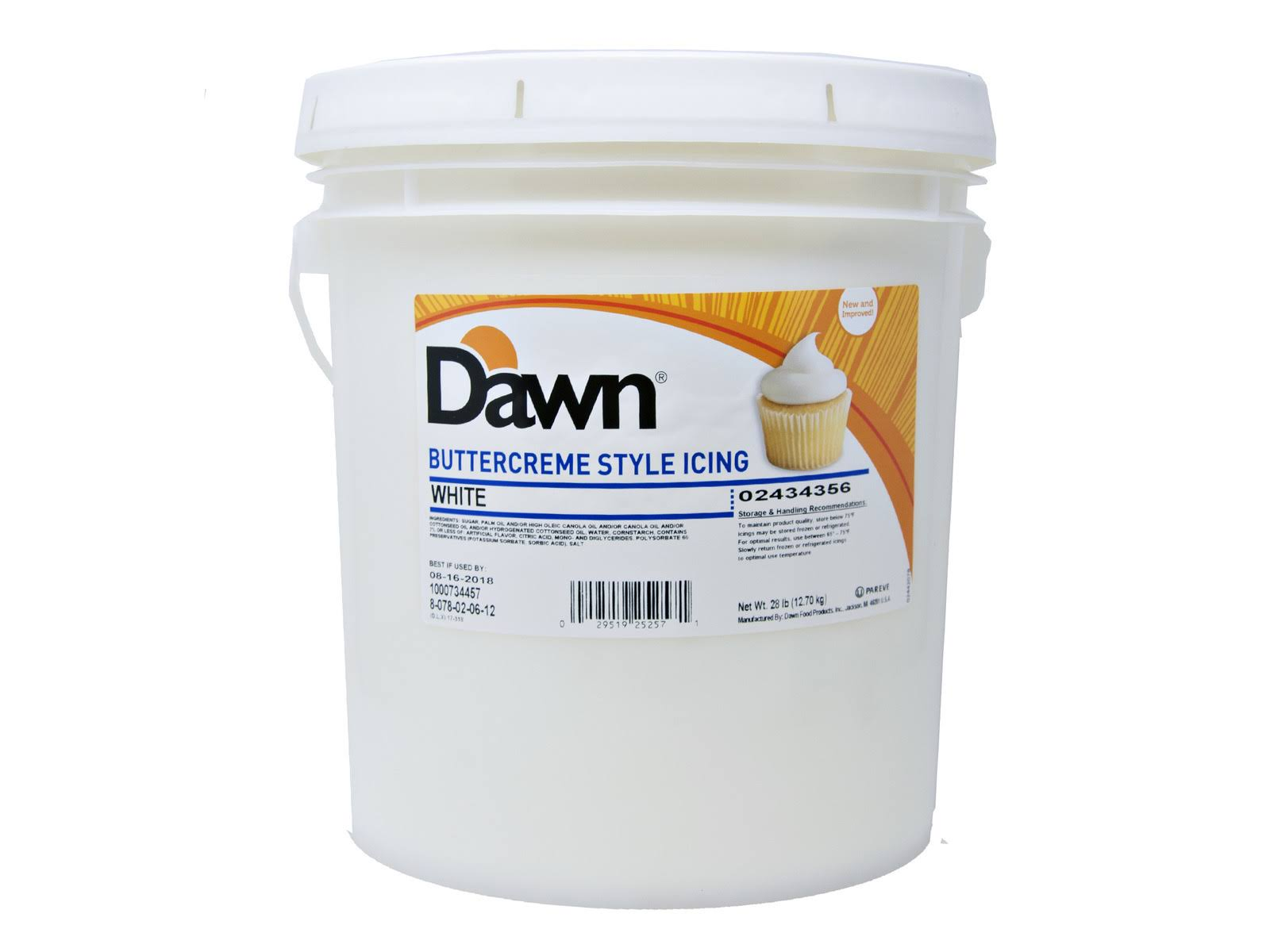 Dawn White Buttercreme Icing 28lb, 163704, Price/CS