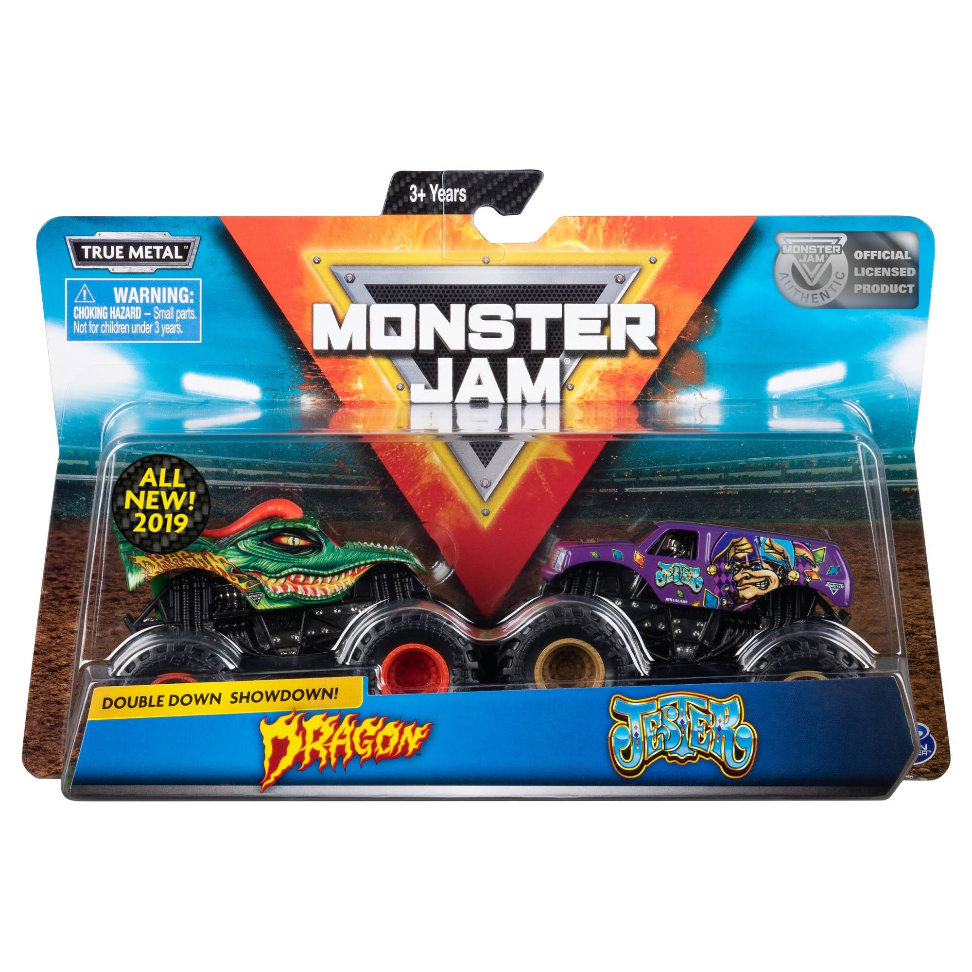 Monster Jam, Official Dragon vs. Jester Die-Cast Monster Trucks, 1:64 Scale, 2 Pack
