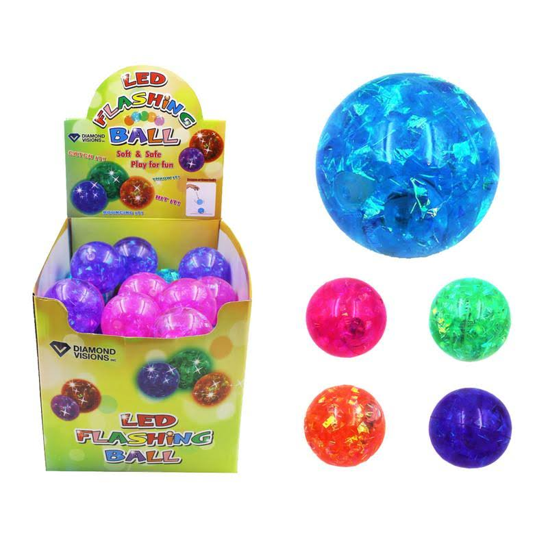 Diamond Visions 9489360 3 Plus Year LED Flashing Glitter Ball Assorted